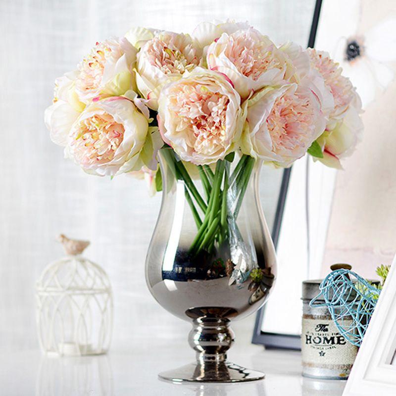 Bridesmaid 5 Heads Silk Flowers 1 Bouquet Peony Flower Home Wedding Decor