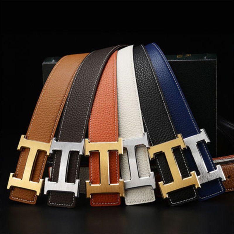 "New Fashion Hot sell Men/'s Belts Couple Leather/""H/"" Buckle Waist Waistband Belt"