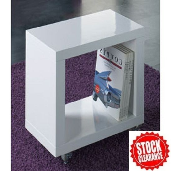 Cube Side Table In White High Gloss With Wheels Cube Side Table Side Tables Bedroom Living Room Furniture Sale