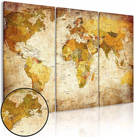 (Frameless) Canvas Prints Map Art, NLEADER Wall Art Prints - 3 Pieces -World Map 105x70 cm( 41.3x27.6 in)