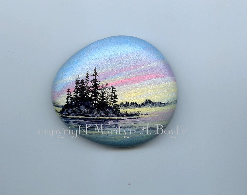 HAND PAINTED STONE; Lake Superior stone, sunrise, island, lake, nature, Canadian art, shelf art, miniature art, shelf art by OriginalSandMore on Etsy