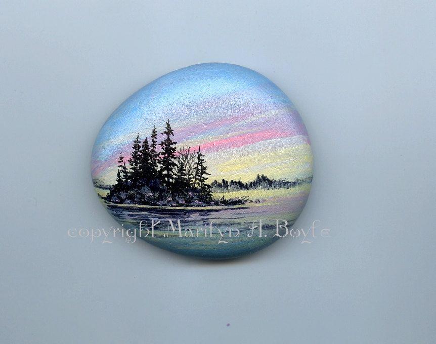 HAND PAINTED STONE; Lake Superior stone, sunrise, island, lake, nature, Canadian art, shelf art, miniature art, shelf art by OriginalSandMore on Etsy