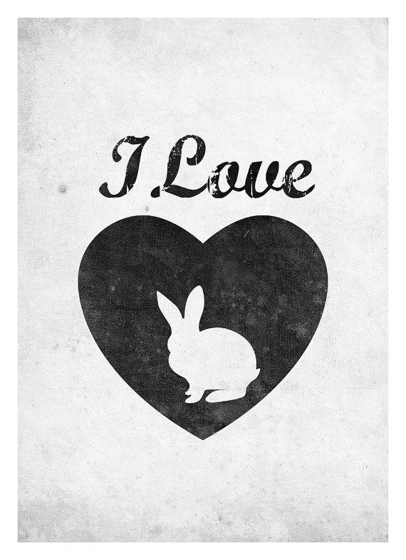 Rabbit Silhouette Wall Decor I Love Rabbit Graphic by NeueGraphic