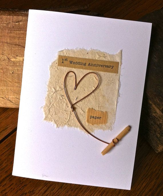 1st Wedding Anniversary Card Paper Rustic Wire Heart With Etsy Wedding Anniversary Cards Anniversary Cards Wedding Anniversary
