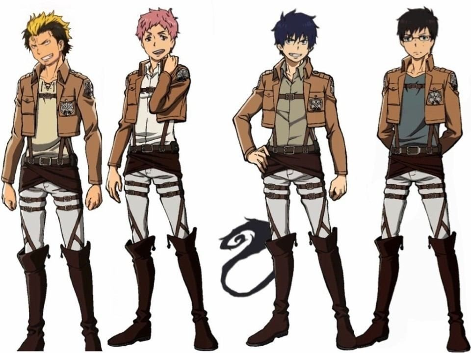 Blue Exorcist and Attack on Titan crossover! Believe it or not, but I'm on episode 6 of Blue Exorcist and I'm hooked. Speaking of which, I'm gonna go watch it right now! :)