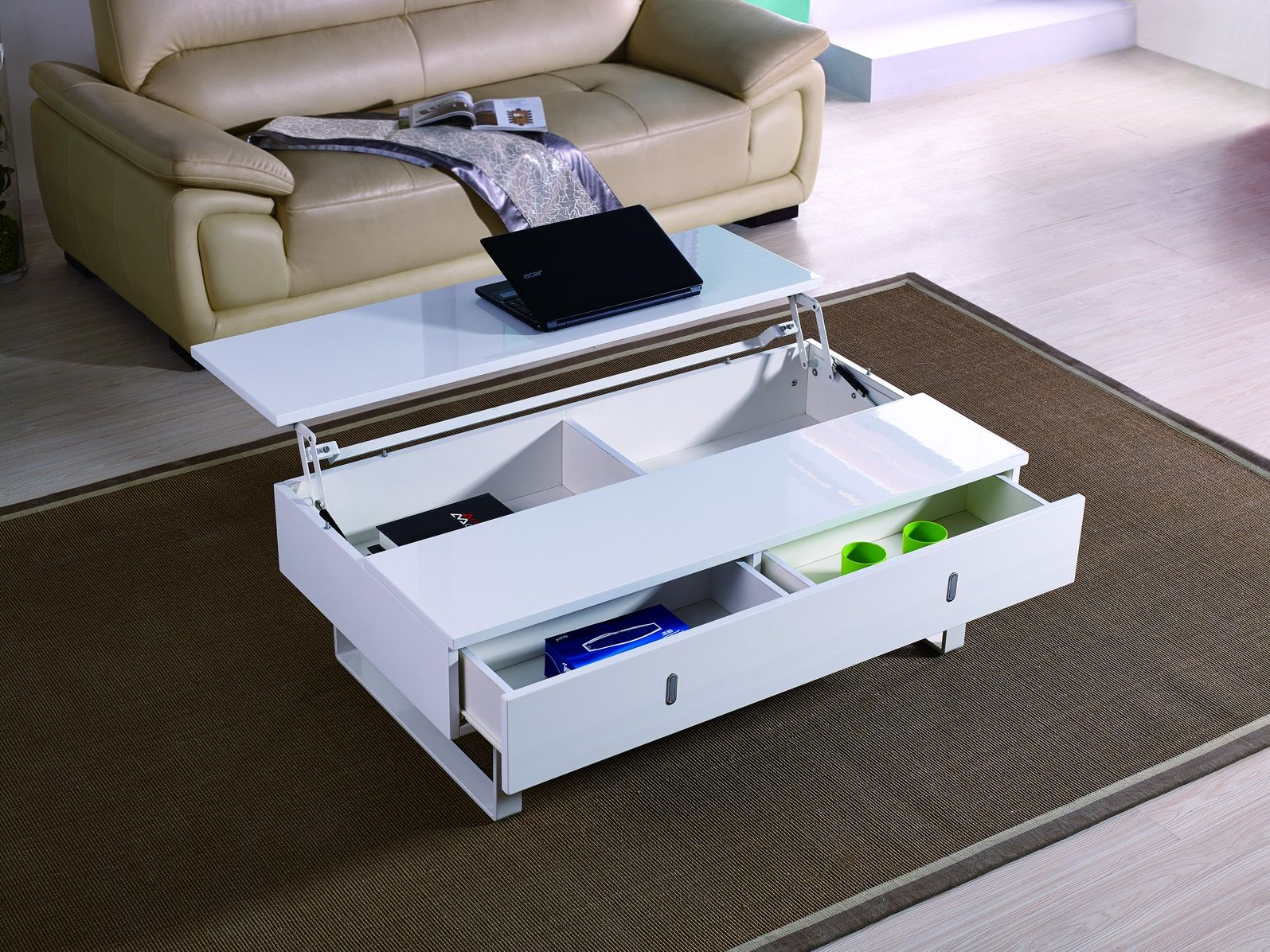 Table Basse Laque Blanc Mutifonction Easy Easy Laque Blanc Table Basse Laquee Table Basse Table Basse Relevable