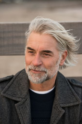 Mature Man With Long Grey Hair Smiling Mens Hair Styles Hair