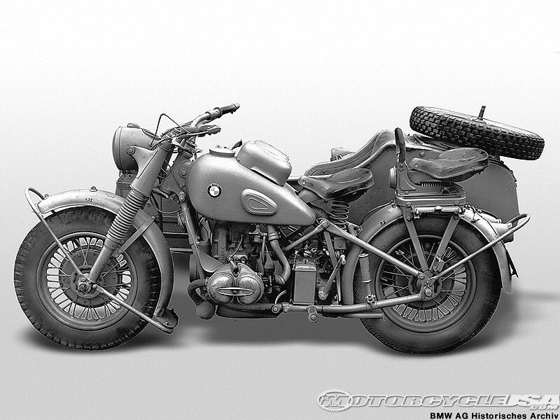 Side View Of A Ww2 Bmw R75 Motorcycle