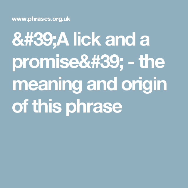 lick promise a a and Phrase