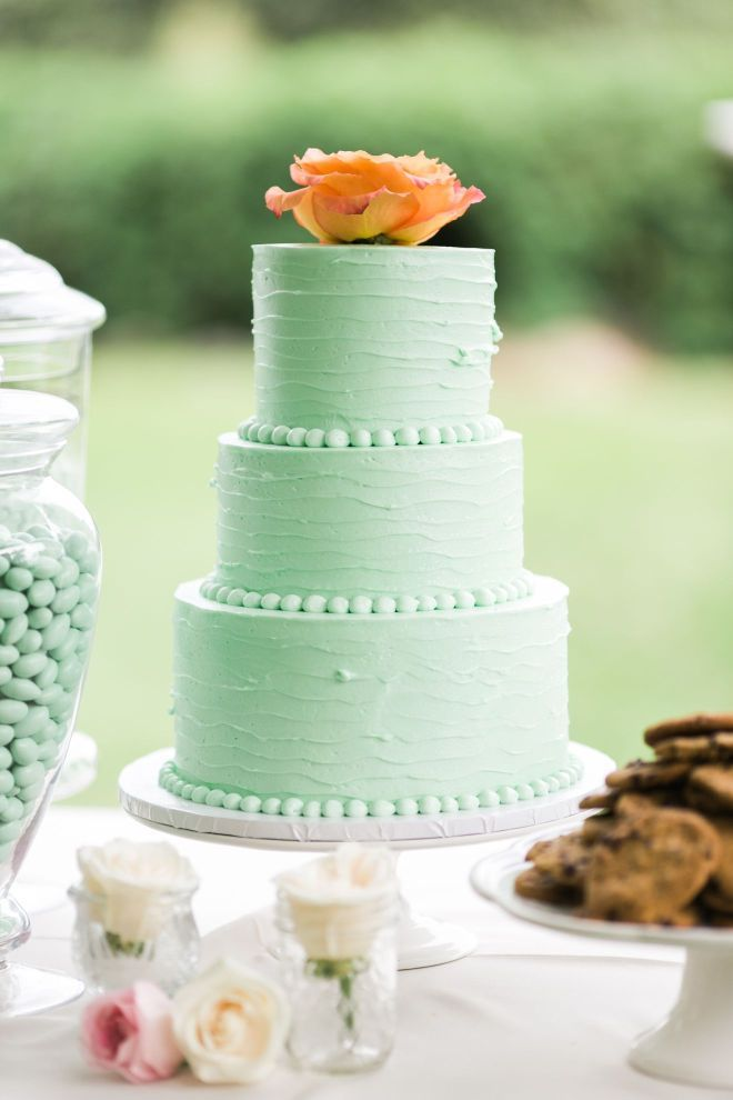 Mint Color Cake With Coral Single Rose On Cake Top Cake By Cake - Cake Works Wedding Works