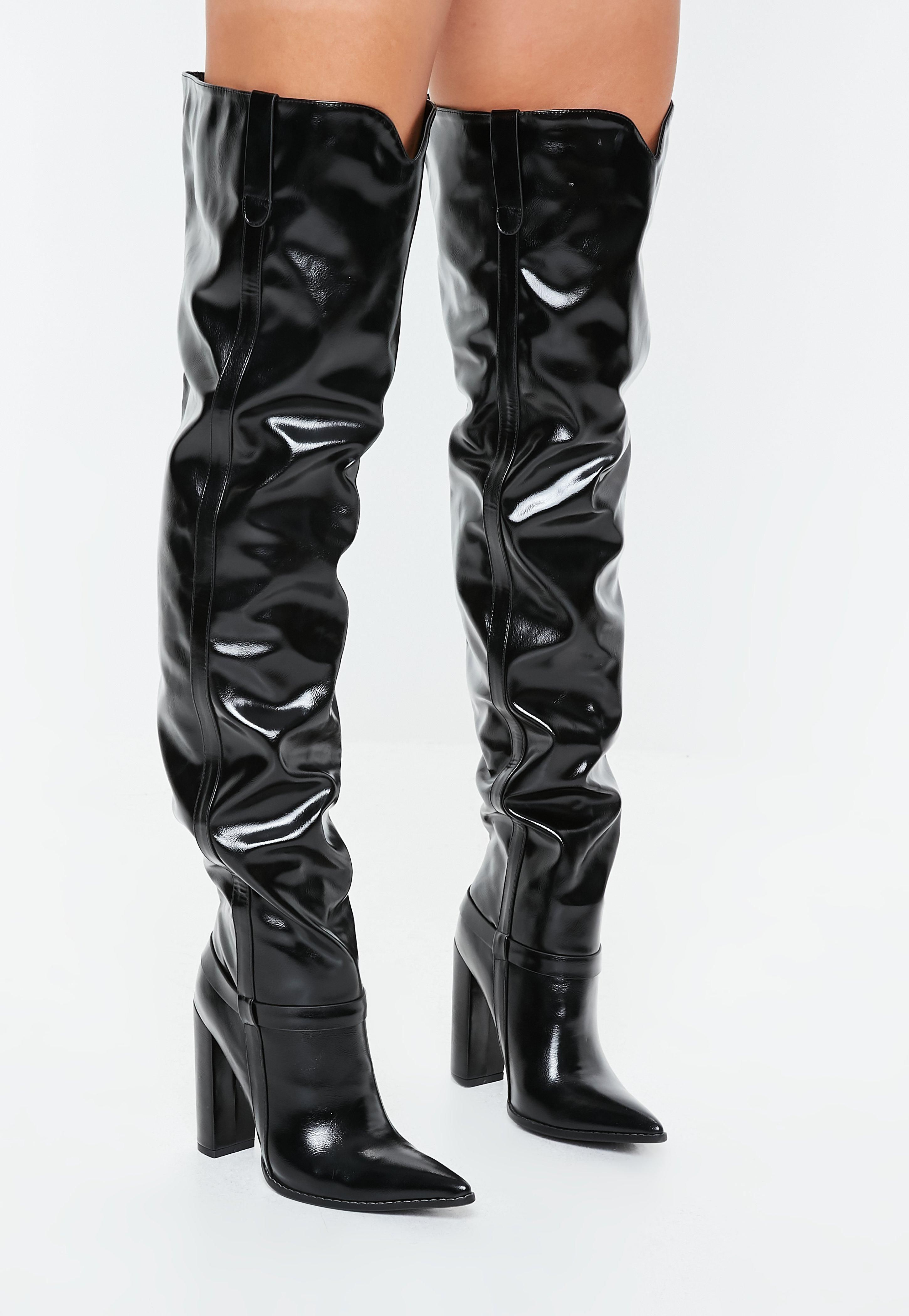 43248dcd1a1d black-block-heel-faux-leather-thigh-high-boots  shoes  pretty  instafashion   instatag  fashion  fashiondaily  fashionblog  fashiongram  styles   fashionpost ...