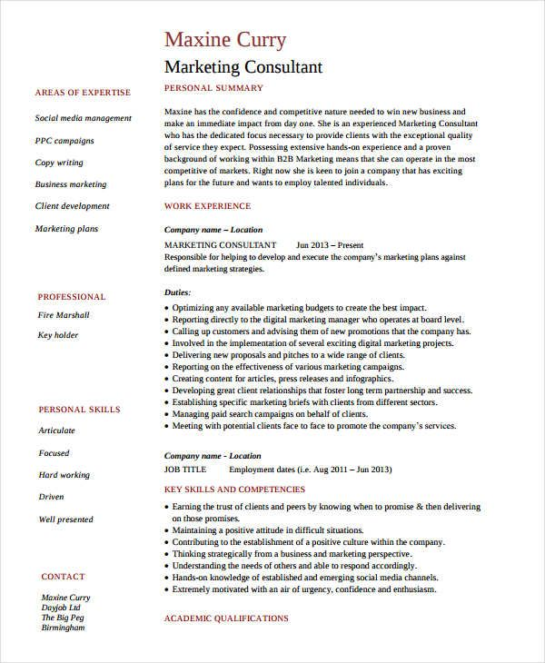 Senior Marketing Consultant Resume , Marketing Resume Samples for - business consultant resume