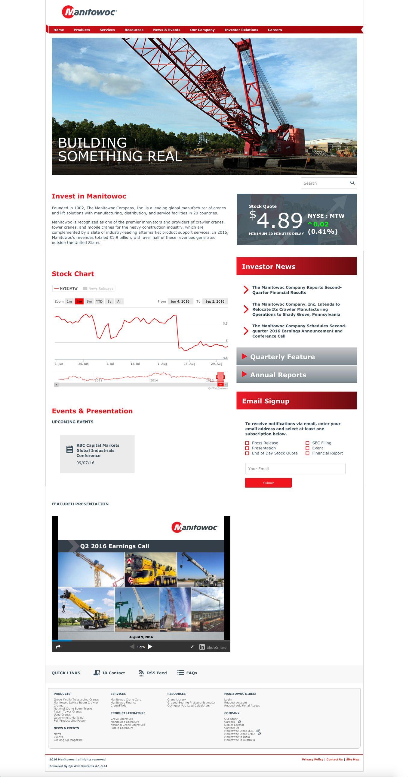 Manitowoc investor relations redesign 2016 investor