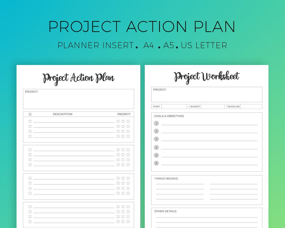 Printable Project Worksheets, Project Planner, Success