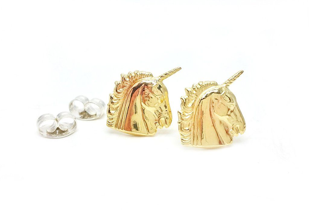 Brass Unicorn Earrings