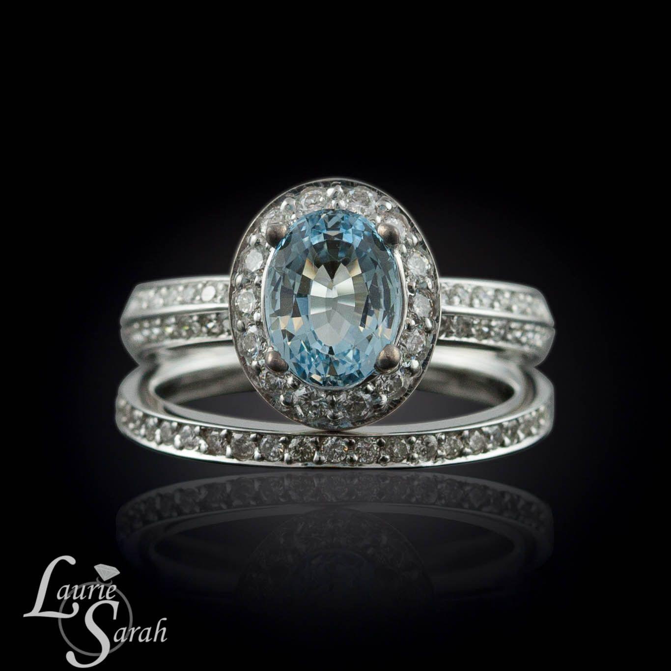 aquamarine wedding rings Oval Aquamarine Wedding Ring Set with Knife Edge Shank and Diamond Wedding Band LS by