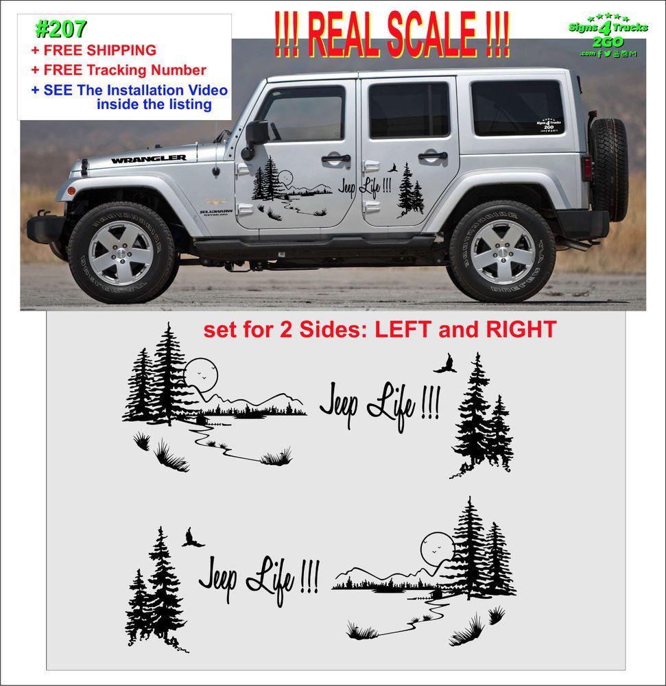 0207 Jeep Life Vinyl Decal Graphic Side Wrangler Rubicon Sahara Jk Jku Tj Oracal651 Jeep Life Jeep Vinyl Decals