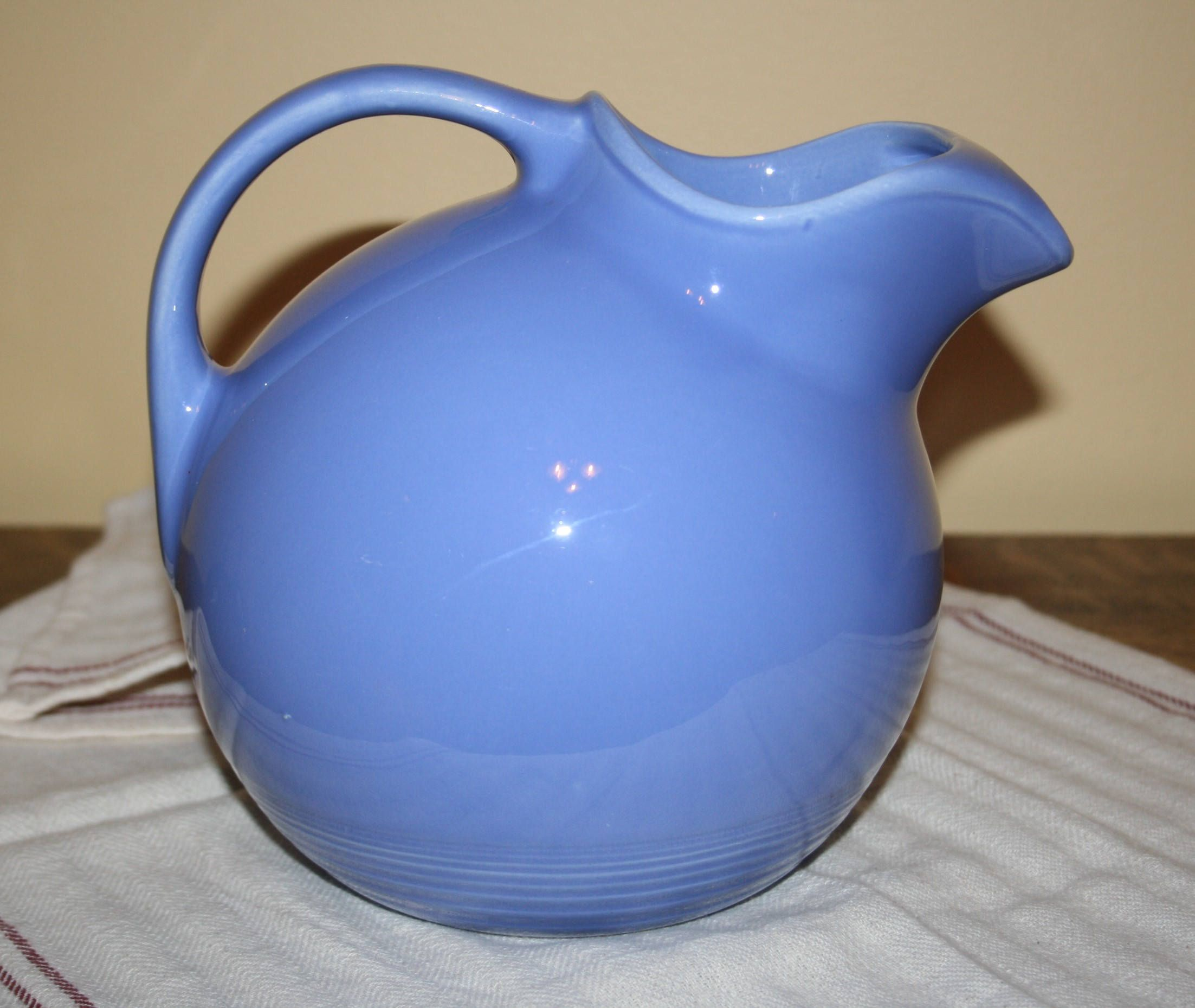 Vintage Harlequin Fiesta Mauve Blue Ringed Ball Service Water Pitcher with Ice Lip Excellent Condition by AstridsPastTimes on Etsy
