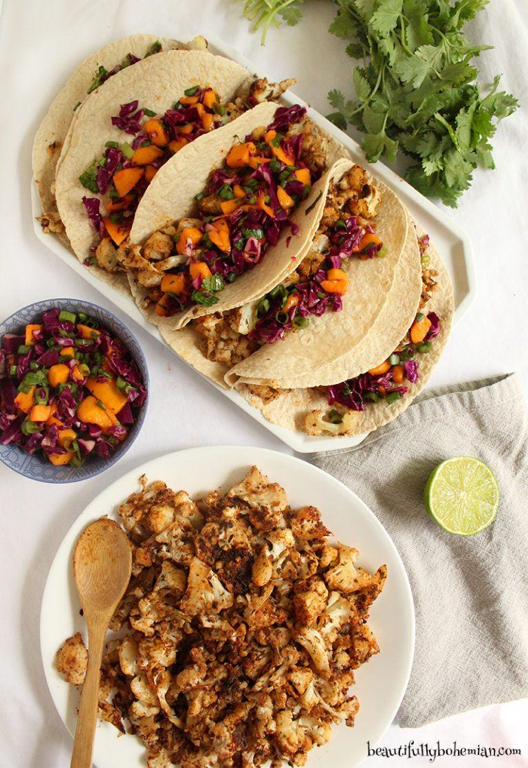 Spicy Vegan Jamaican Cauliflower Tacos With Mango Salsa