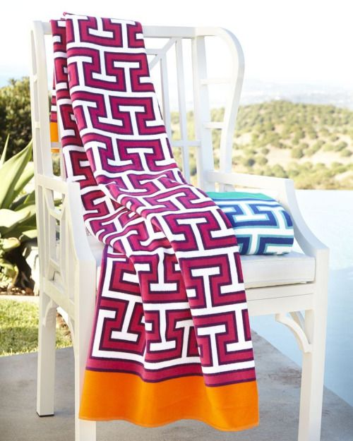Jonathan Adler Mykonos Beach Towelmade of highly absorbent, heavyweight cotton terry.