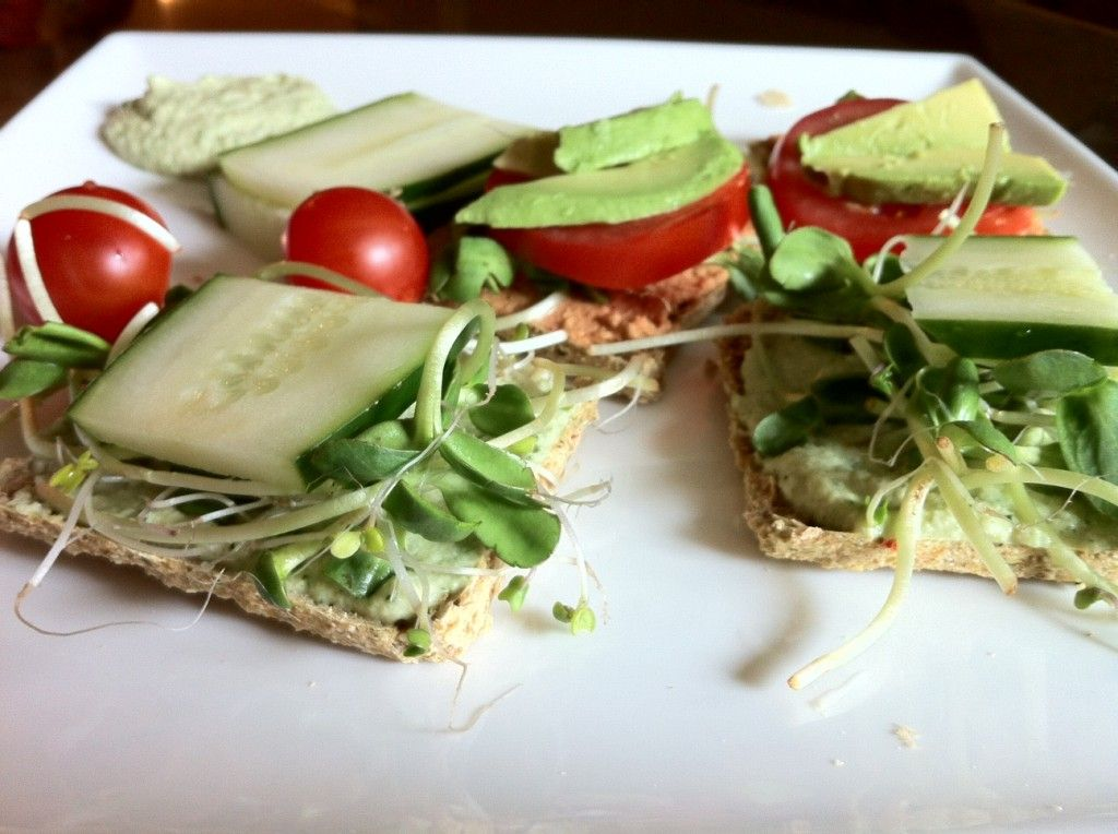raw cucumber and cheezy sunflower tomato sandwiches