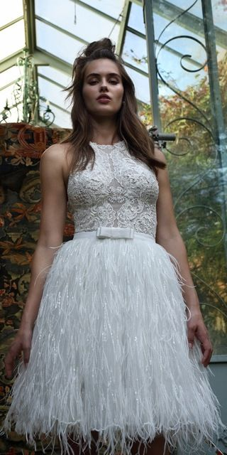 White Short Ostrich Feather Wedding Dress 2016 Lace Knee Length ...