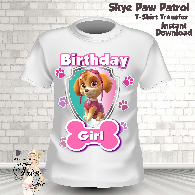 Skye Paw Patrol T ShirtGirl Iron On TransferSkye ShirtSkye Birthday PartySkye TshirtSkye Party By