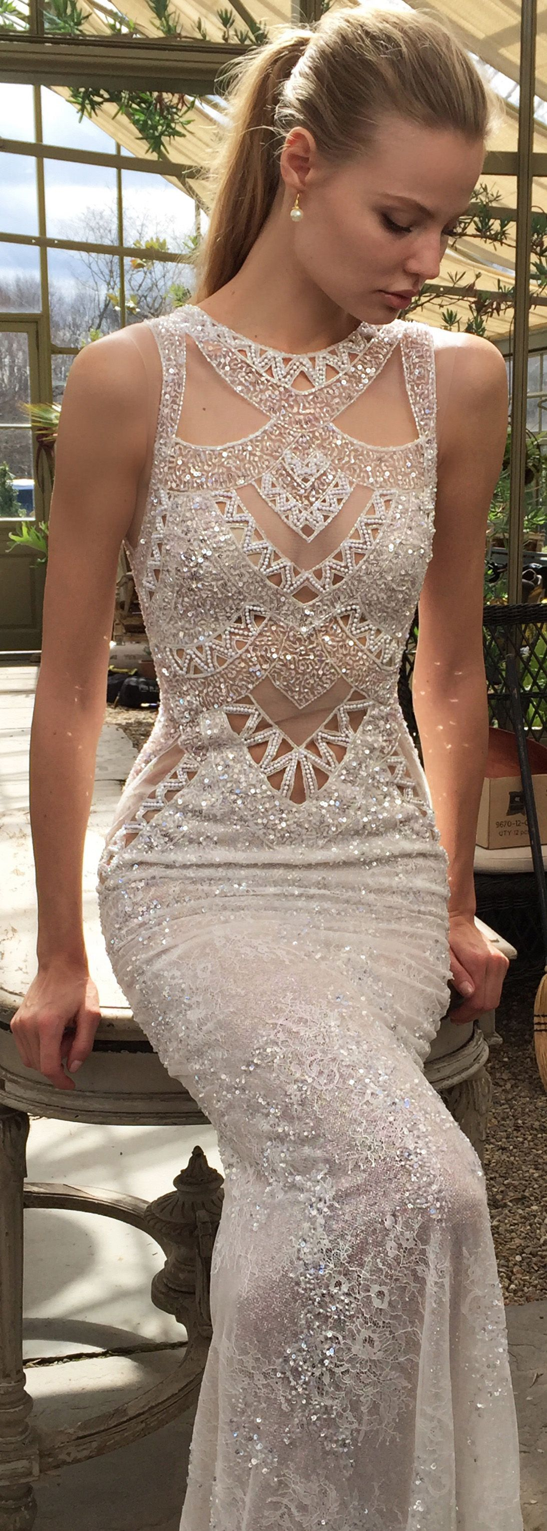 The geometric detailing on this bertabridal wedding dress gives it