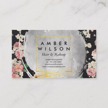 Watercolor and Elegant Floral Gold Foil Leather Business Card | Zazzle.com