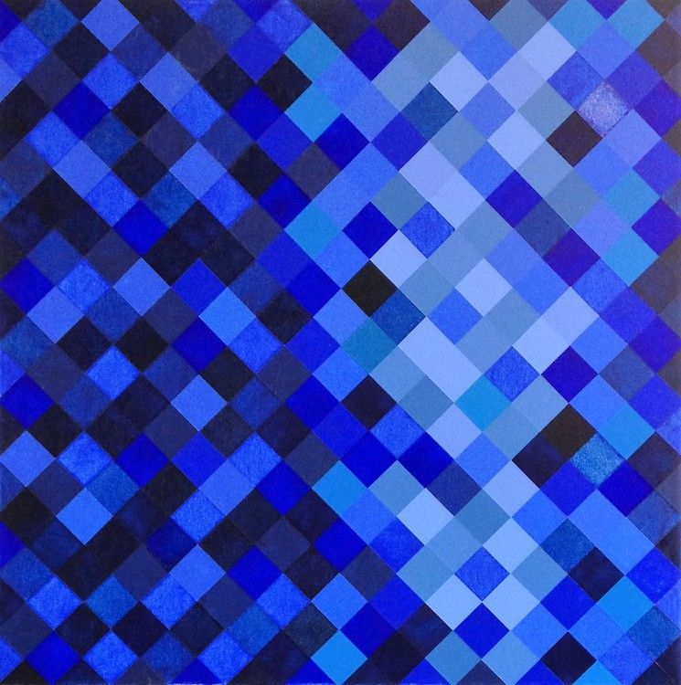 """""""DESPERTAR"""" - Peinture,  60x60x3 cm ©2013 par Paula Kadunc -                                                                                    Art conceptuel, Peinture contemporaine, Bois, Toile, Géométrique, original, assinado, signed, tela, canvas, azul, blue, moldura, framed"""