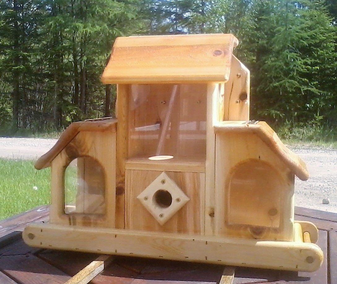 All in one, birdhouse, bird feeder, and squirrel feeder
