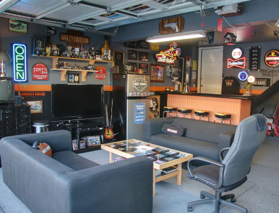 Awesome Garage Room How To Turn A Garage Into An Awesome Hang Out Spot Garage To Living Space Man Cave Garage Modern Garage