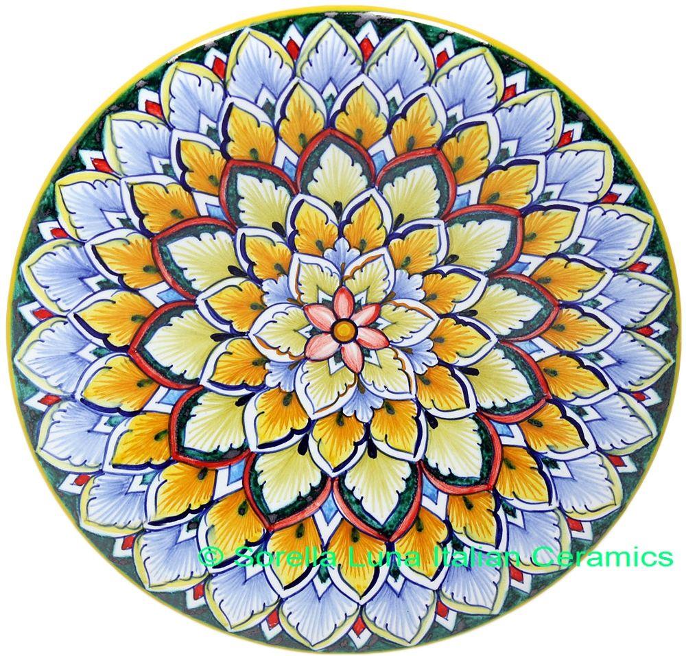 Italian Hand Painted Ceramic Majolica Plate | 20cm  sc 1 st  Pinterest & Italian Hand Painted Ceramic Majolica Plate | 20cm | Italian ...