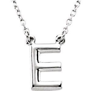 Sterling Silver Letter E Block Initial  Necklace