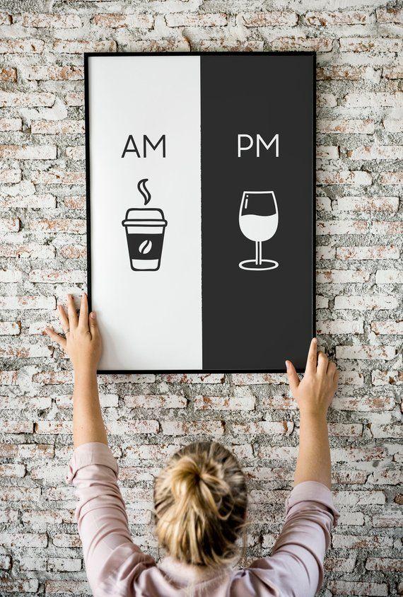 Am Pm, druckbare Kunst, Küche Plakat, Kaffee & Wein Dekor, Wohnkultur, Wandkunst, Am Pm Zeichen, Wein Zeichen, Kaffee-Zeichen, digitaler Download #sweetsixteen