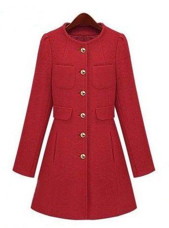 Red Long Sleeve Single Breasted Pockets Coat - Sheinside.com