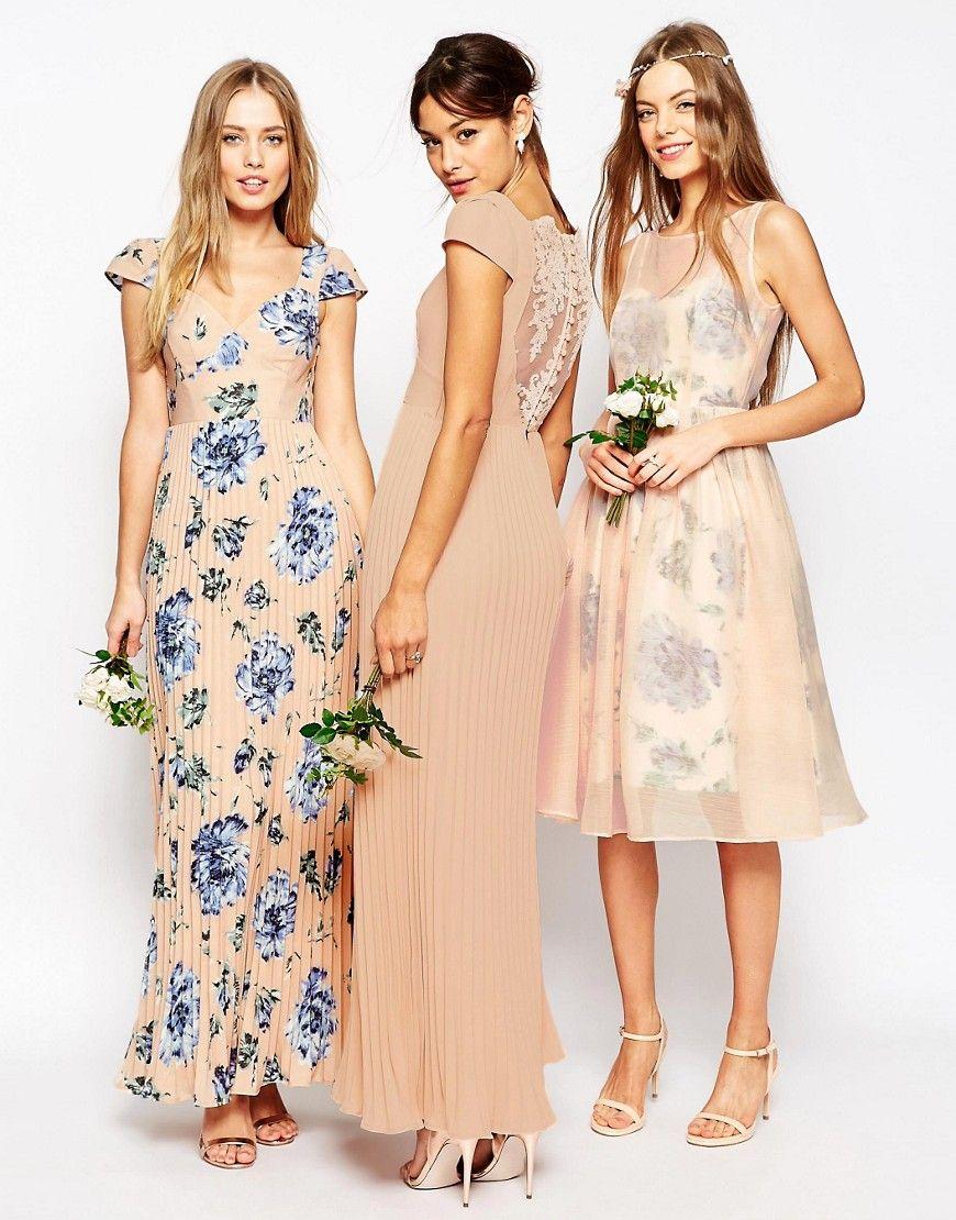 Image 3 ofASOS PETITE WEDDING Lace Back Pleated Maxi Dress