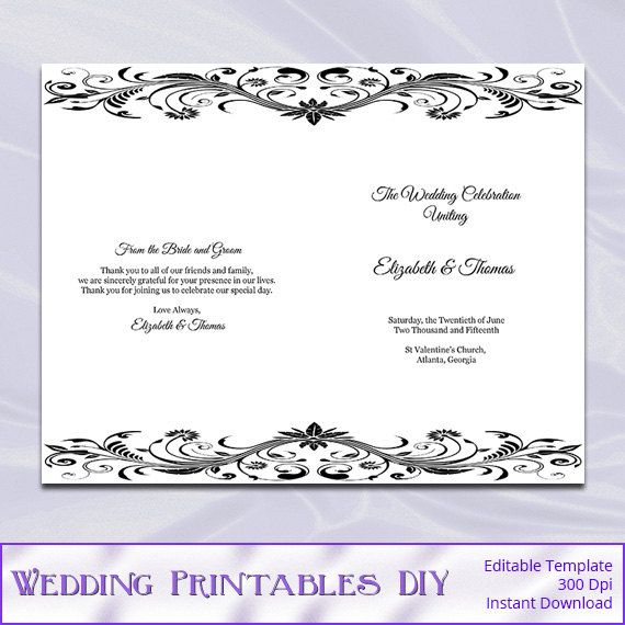 diy wedding booklet programs templates by weddingprintablesdiy