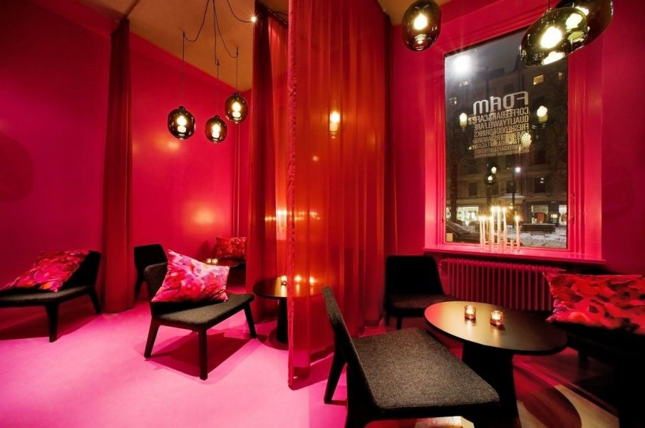 cafe foam colorful interior red and pink - Red Cafe Ideas