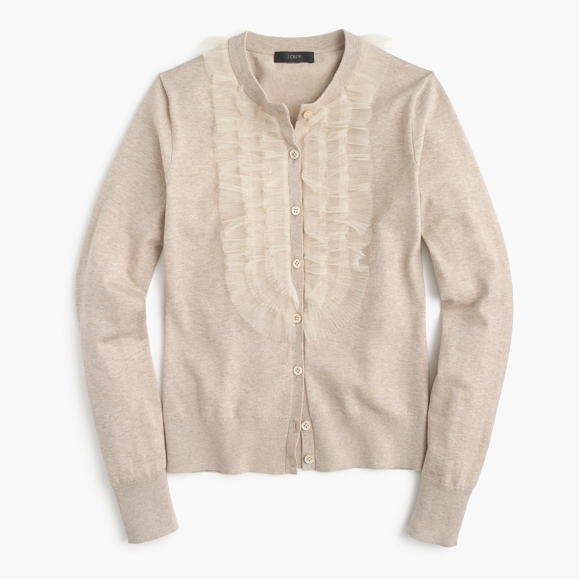 J.Crew Womens Cotton Jackie Cardigan Sweater With Tulle (Size L ...