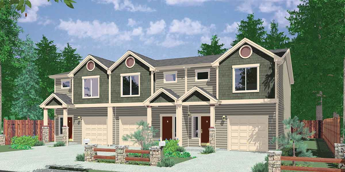 Plan 38027lb triplex house plan with 3 bedroom units for Triplex home plans