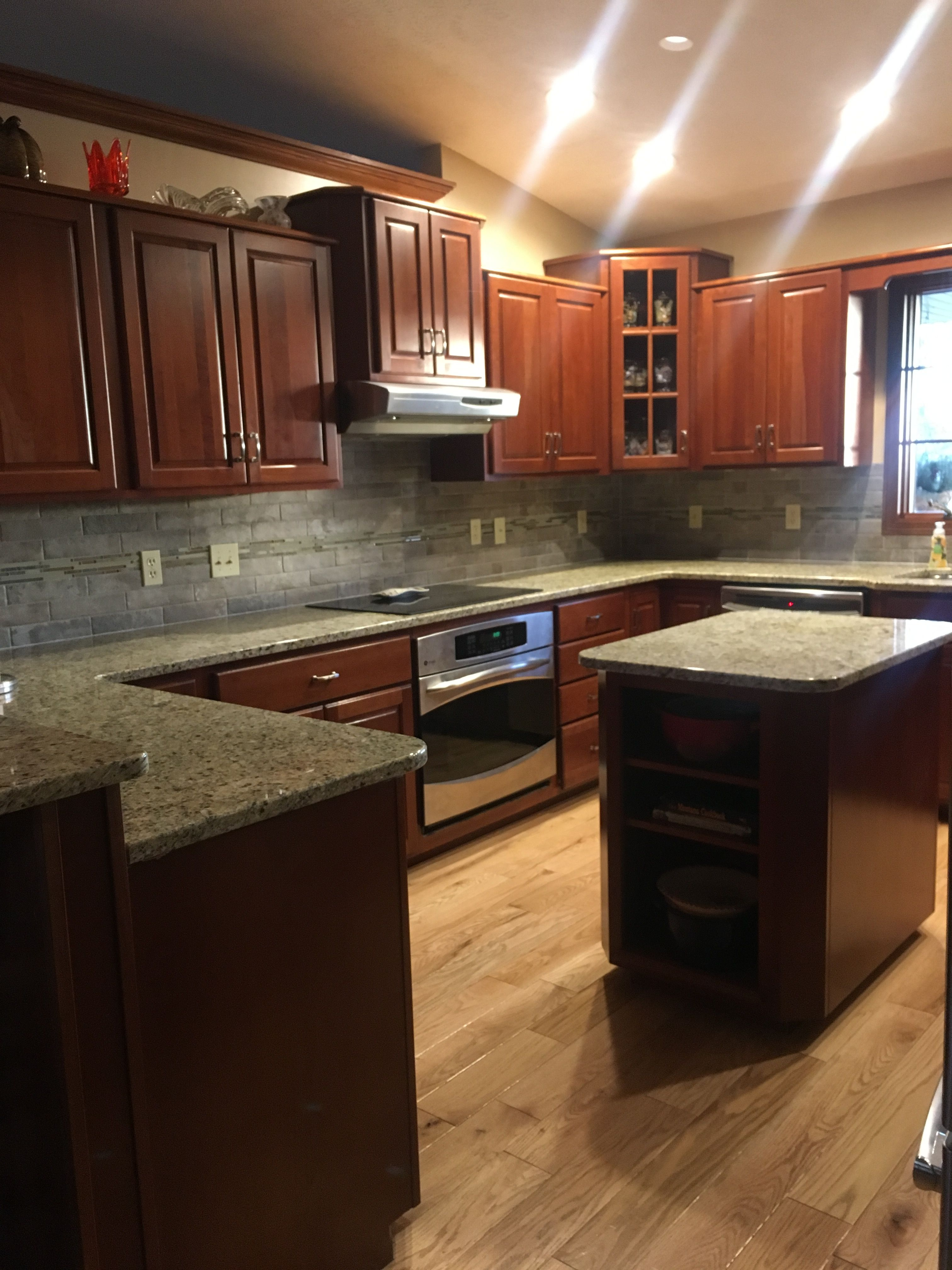 - New Venetian Gold Granite, Taupe Subway Tile Backsplash With Slate