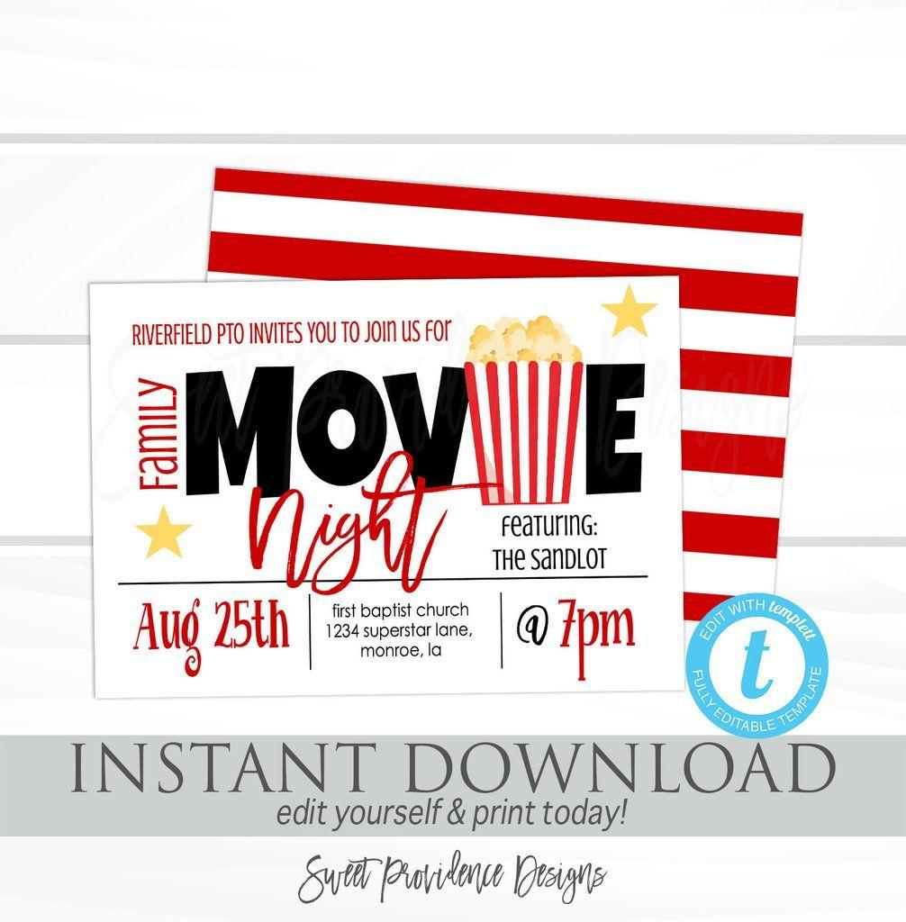 Family Movie Night Flyer School Or Church Movie Party Pto