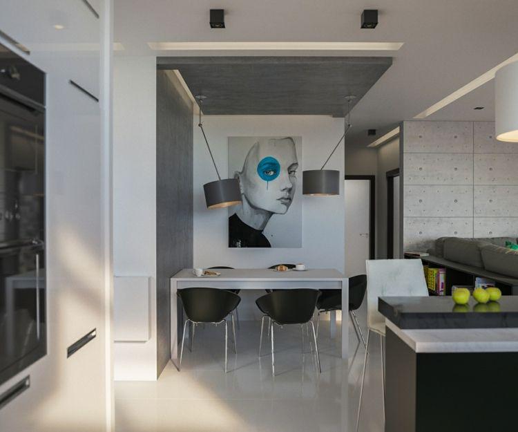 küche essbereich moderne einrichtung beton trennwand industrial