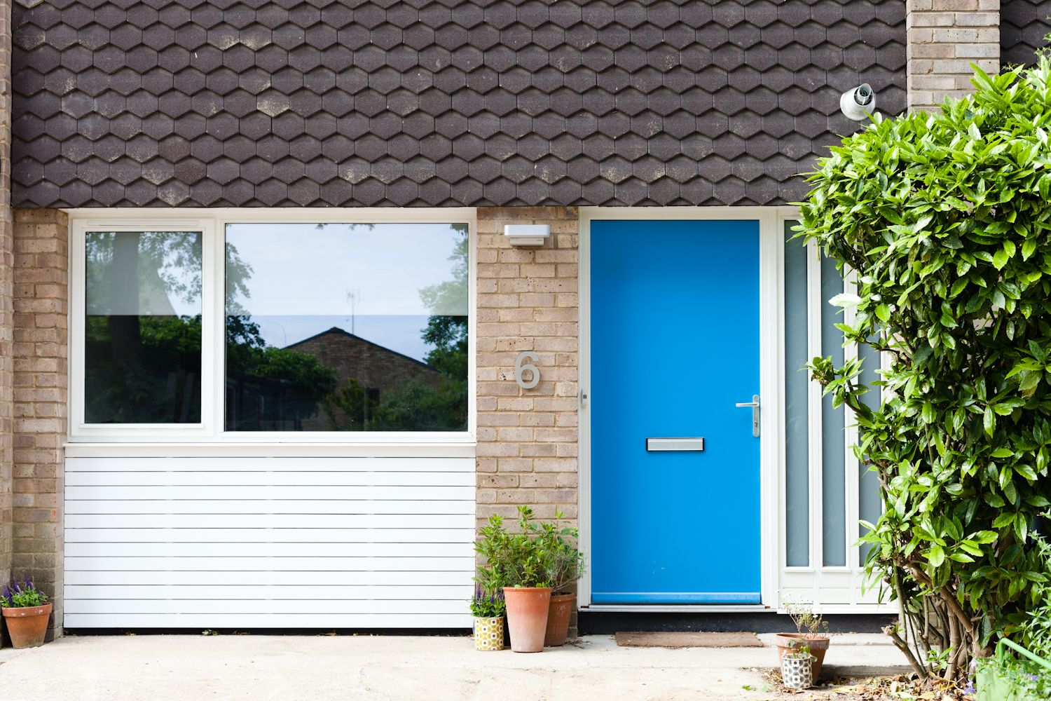 Garage Conversion Doors blue front door, 1960's garage conversion and white timber windows