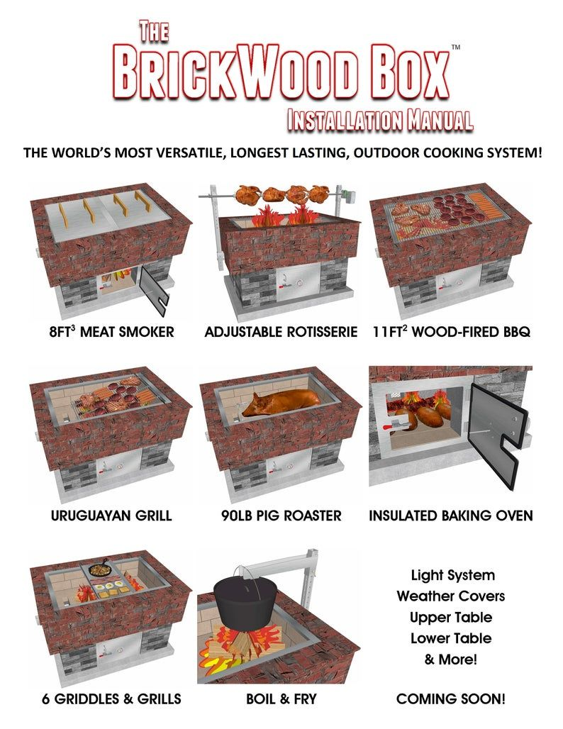How To Build A Smoker Grill Bbq Pig Roaster Rotisserie Bread Pizza Oven Brazilian Bbq Deep Fryer And More The Brickwood Box In 2020 Pig Roaster Bbq Pig Build A Smoker