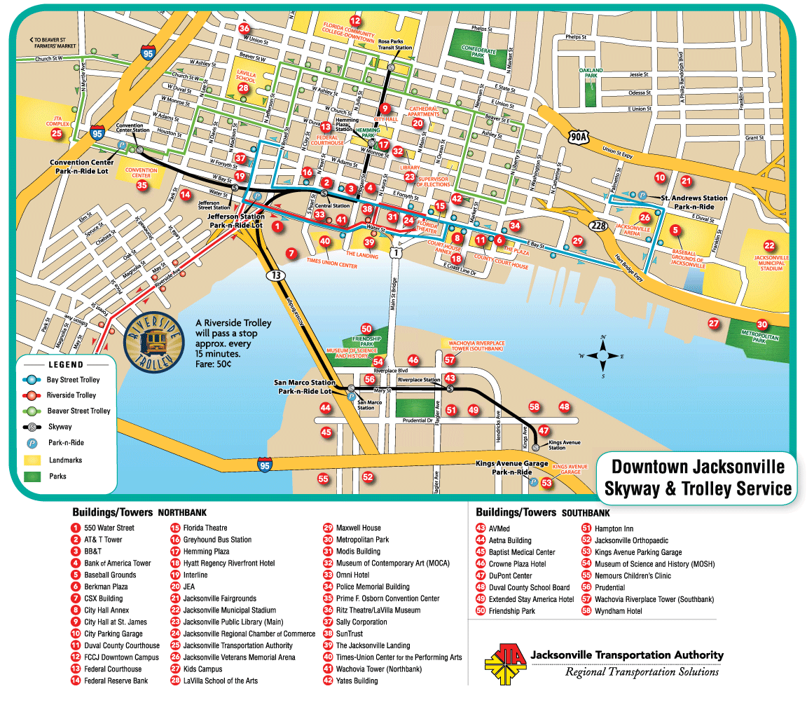 Downtown Jacksonville NC Jacksonville Downtown Transport Map