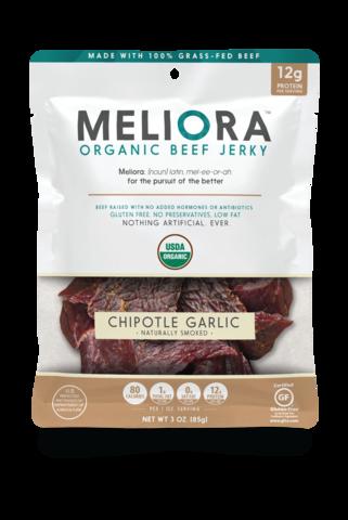 Meliora Organic Beef Jerky 3oz Chipotle Garlic Meliora Chipotle Garlic Jerky Is Handcrafted In Shelley Idaho We Begin With Organic Beef Beef Jerky Beef
