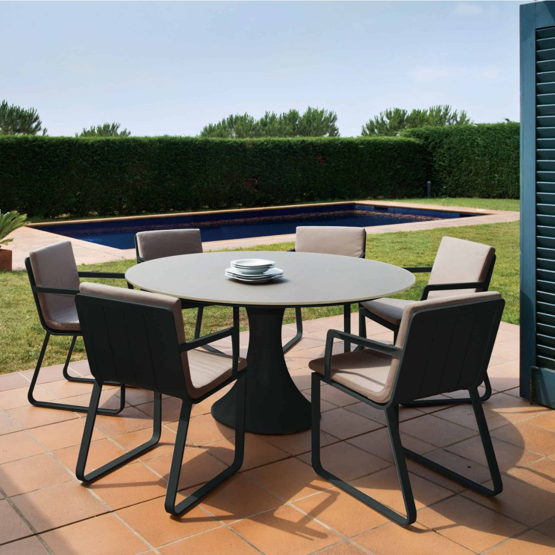 Fano 6 Seat Outdoor Dining Set With Verona Arm Chair Charcoal