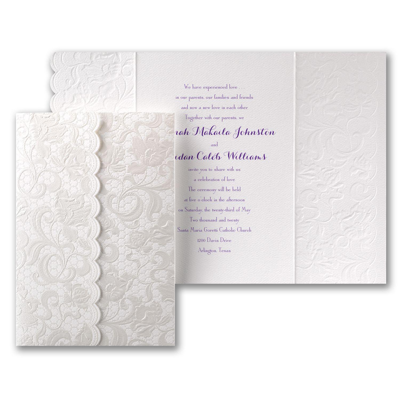 Elegant gate fold white wedding invitations with embossed lace like ...
